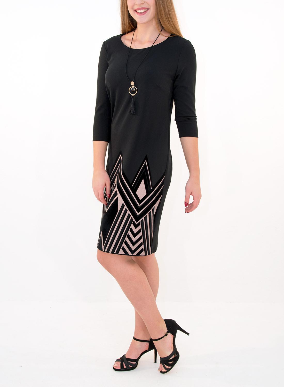 f6b33bfb1ece Μαύρο φόρεμα με στάμπα