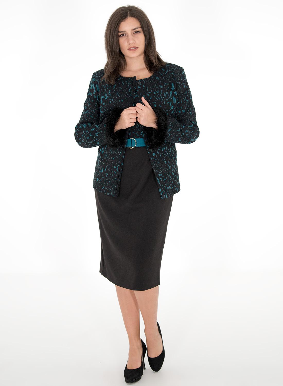 Μαύρο φόρεμα με εντυπωσιακό εμπριμέ μπούστο