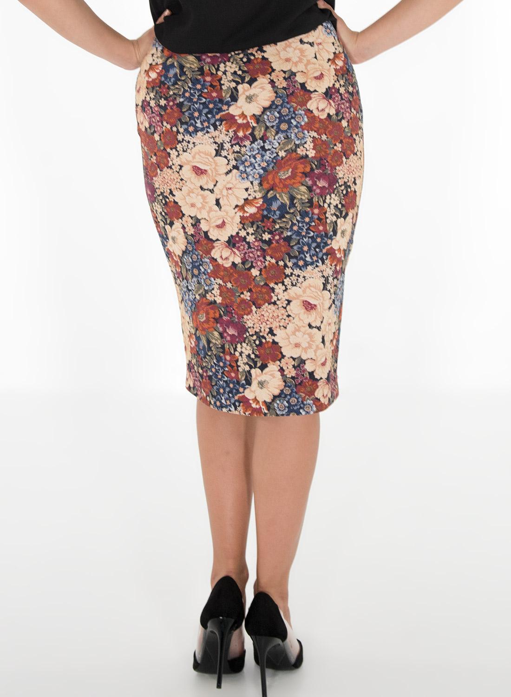 Φλοράλ φούστα με φερμουάρ