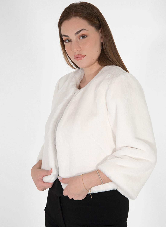 Λευκό γούνινο ζακετάκι