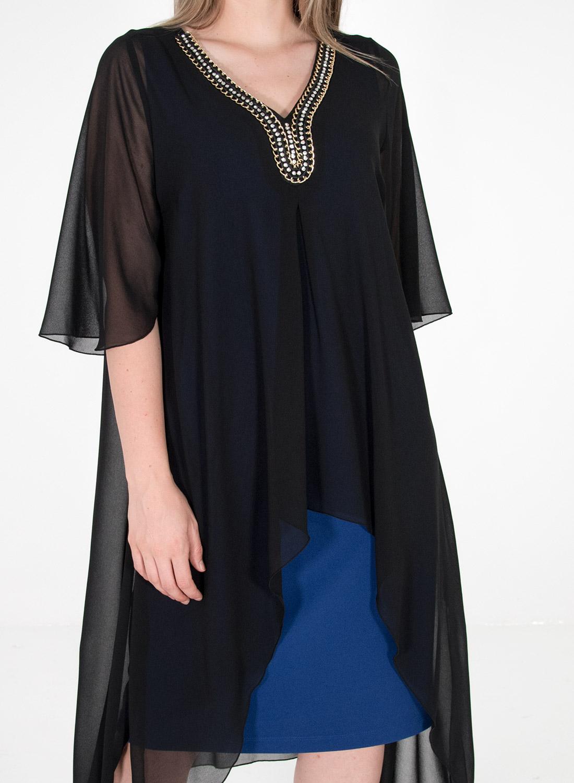 Ρουά μονόχρωμο φόρεμα με μαύρη τουνίκ
