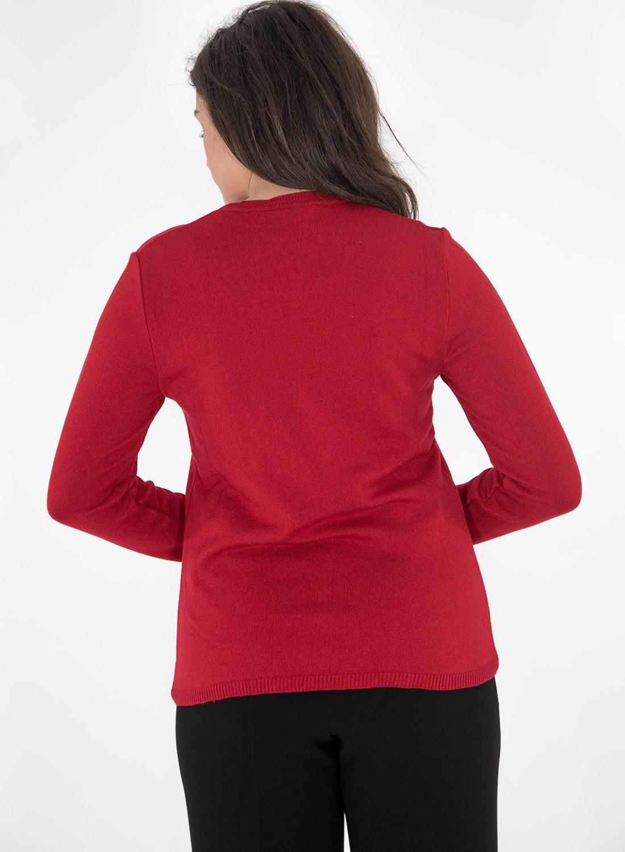 Κόκκινη πλεκτή μπλούζα με στάμπα