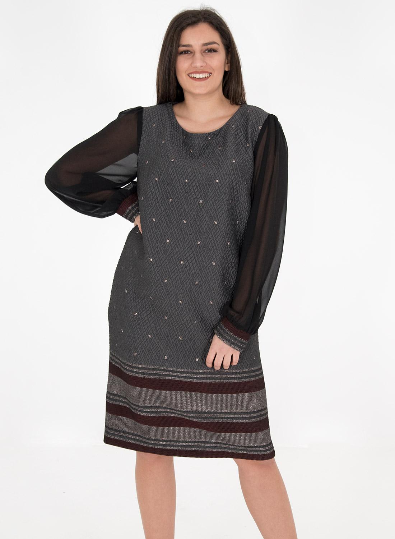 Cocktail φόρεμα με διαφάνεια στα μανίκια