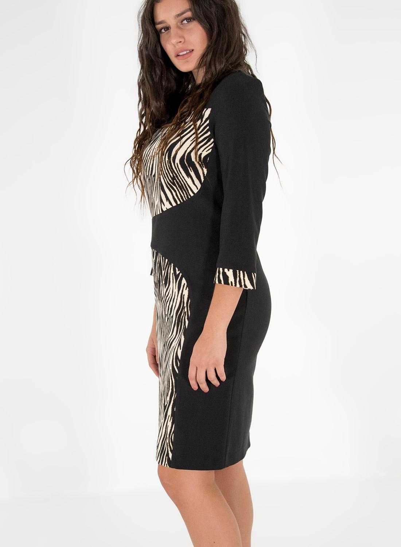Μαύρο φόρεμα με animal print λεπτομέρειες