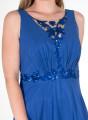 Μάξι αμπιγιέ φόρεμα με διαφάνεια και παγιέτες