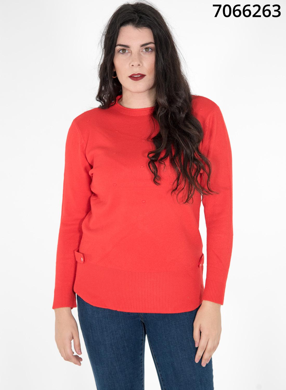 Κόκκινη πλεκτή μπλούζα με σχέδιο στο πλάι