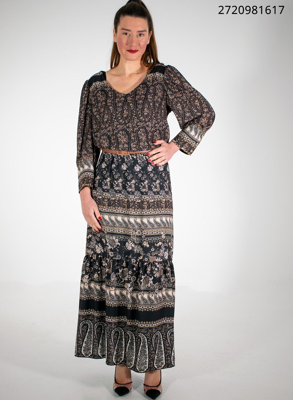 Εμπριμέ εντυπωσιακό φόρεμα με ζώνη