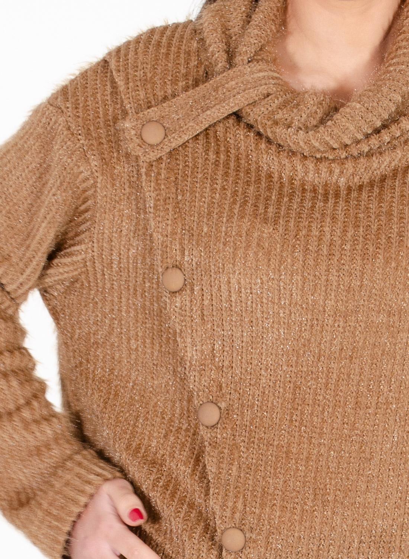 Καμηλό χνουδωτή μπλούζα με κουμπάκια