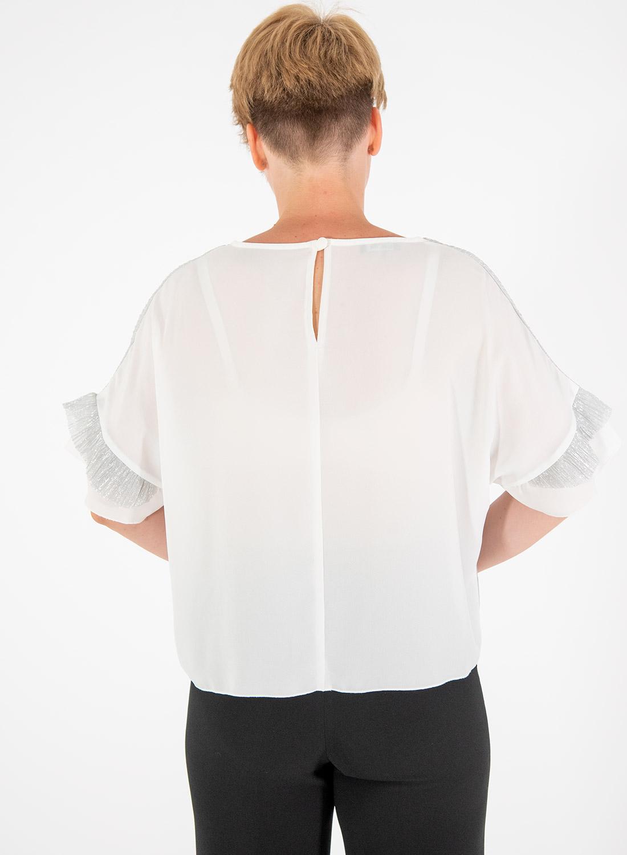 Ασημί-λευκή μπλούζα με βολάν