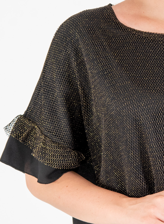 Ολόμαυρη κοντομάνικη μπλούζα με βολάν