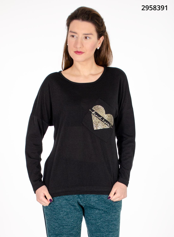 Μαύρη νεανική μπλούζα με καρδιά