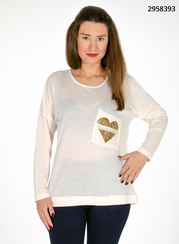Λευκή μπλούζα με καρδιά