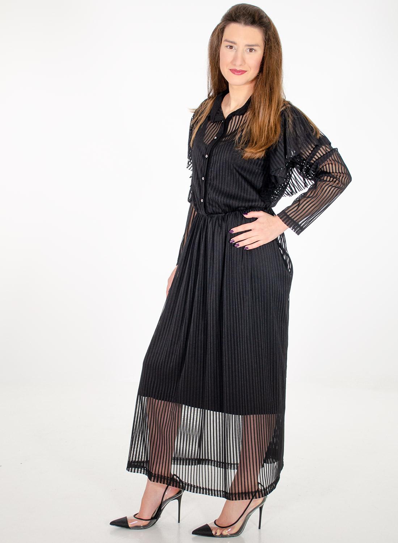 Εντυπωσιακό μαύρο φόρεμα με βολάν