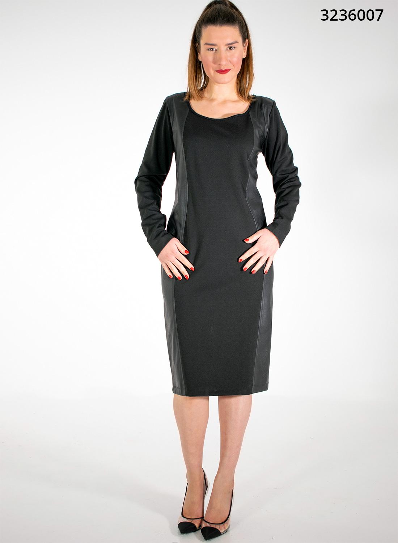 Ολόμαυρο θηλυκό φόρεμα με λεπτομέρειες δερματίνης