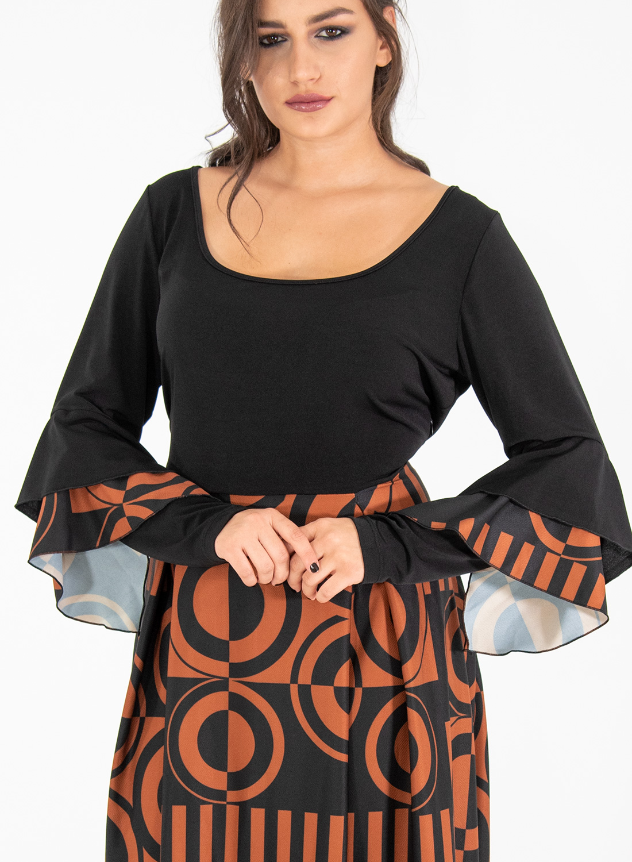 Μάξι εμπριμέ μαύρο φόρεμα