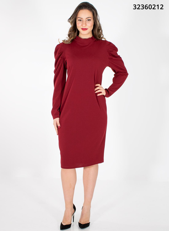 Μπορντό ελαστικό κολακευτικό φόρεμα