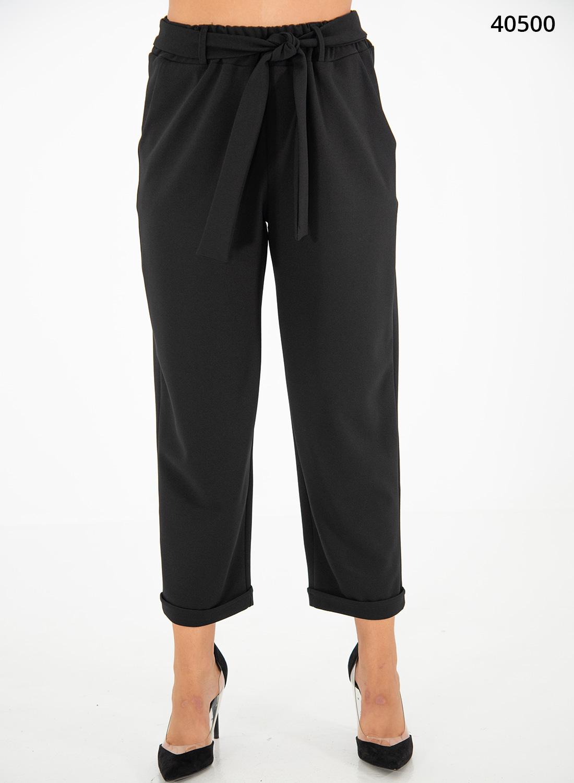 Μαύρο παντελόνι με λάστιχο & ζώνη
