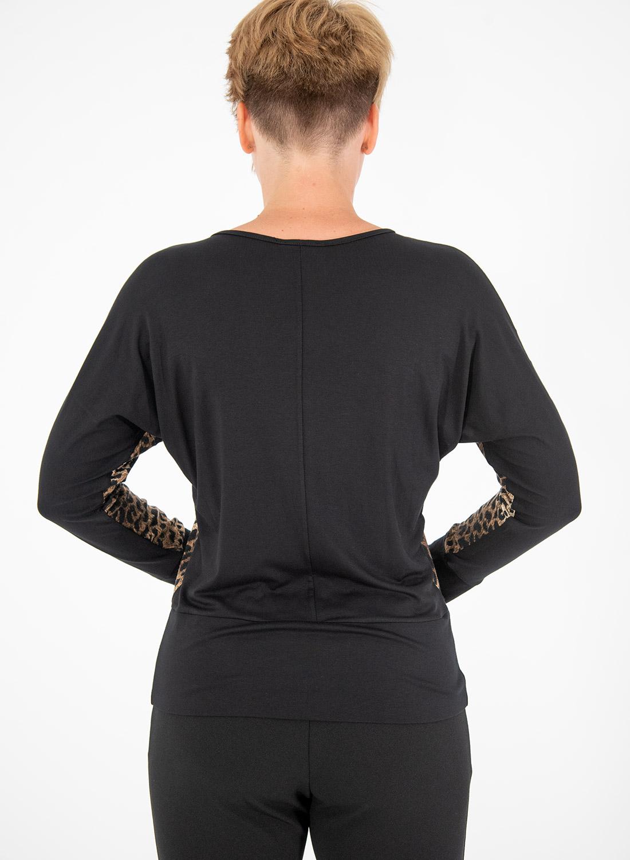 Μαύρη λεοπάρ μπλούζα με μπάσκα