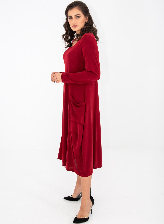 Μονόχρωμο ριχτό φόρεμα με τσέπες