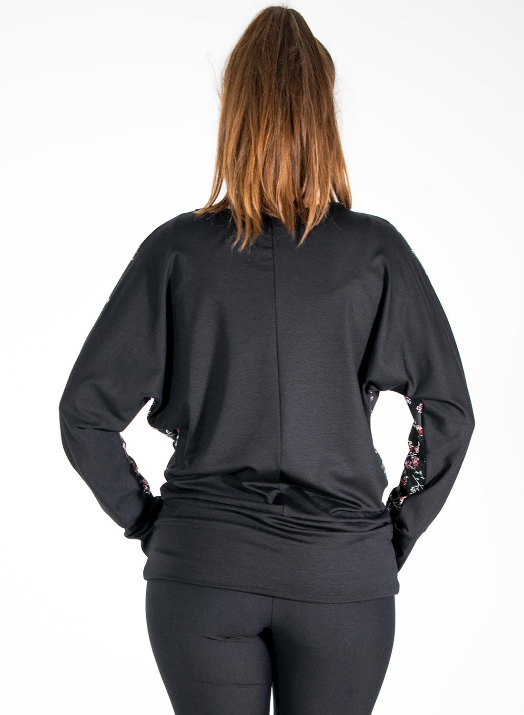 Μαύρη φλοραλ μπλούζα με μπάσκα