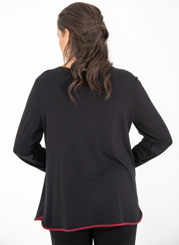 Μαύρη μπλούζα με μπορντό λεπτομέρειες