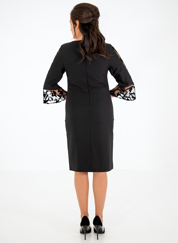 Μαύρο ίσιο φόρεμα με βελουτέ δαντέλα