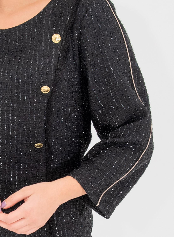 Μαύρο midi φόρεμα με χρυσά κουμπιά