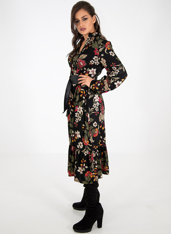 Μαύρο φλοράλ φόρεμα με ζώνη