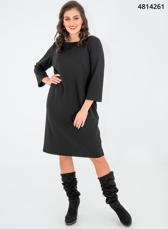 Ολόμαυρο ίσιο midi φόρεμα