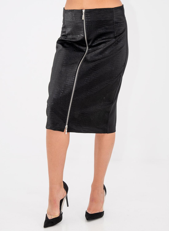 Μαύρη εντυπωσιακή φούστα με φερμουάρ