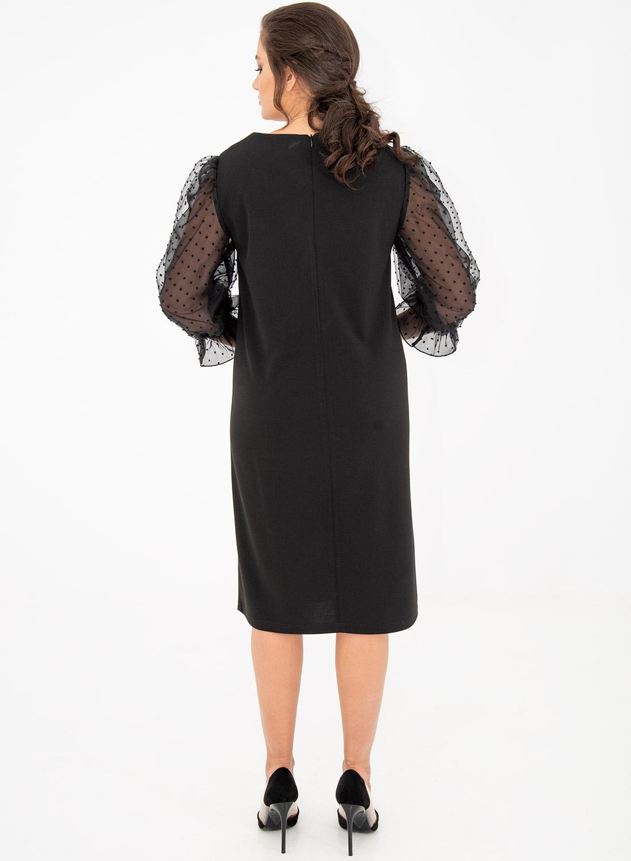 Εντυπωσιακό φόρεμα με πουά διάφανα μανίκια