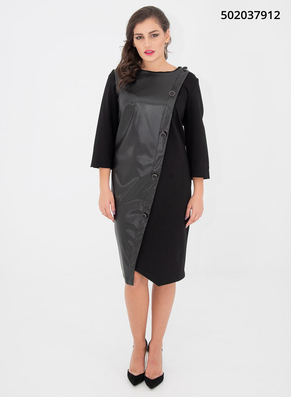 Μαύρο κολακευτικό φόρεμα με δερματίνη