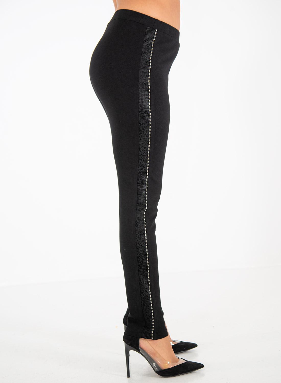 Μαύρο ελαστικό παντελονοκολάν με σχέδιο