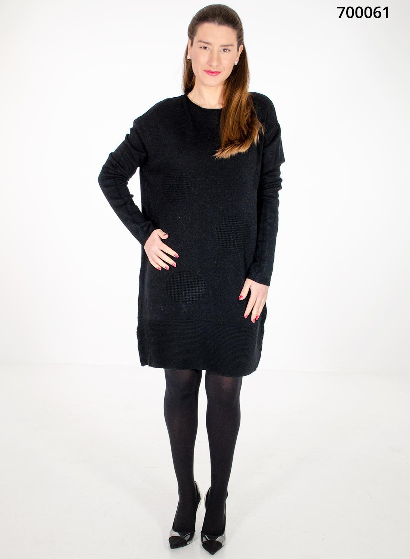 Μαύρο πλεκτό μπλουζοφόρεμα με κύκλους