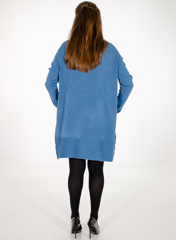 Μπλε πλεκτό μπλουζοφόρεμα με κύκλους