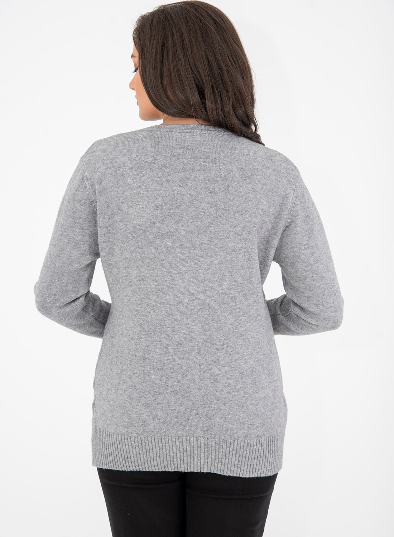 Γκρι πλεκτή μπλούζα με στρογγυλή λαιμόκοψη