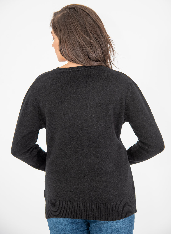 Μαύρη πλεκτή ευκολοφόρετη μπλούζα