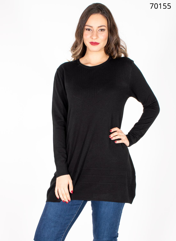 Μαύρη μακριά πλεκτή μπλούζα με σχέδιο