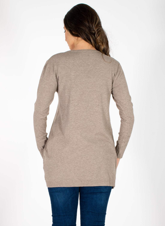 Μακριά πλεκτή μπλούζα με σχέδιο