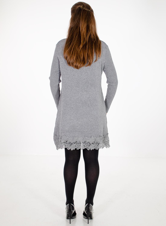 Γκρι εντυπωσιακό πλεκτό μπλουζοφόρεμα με δαντέλα