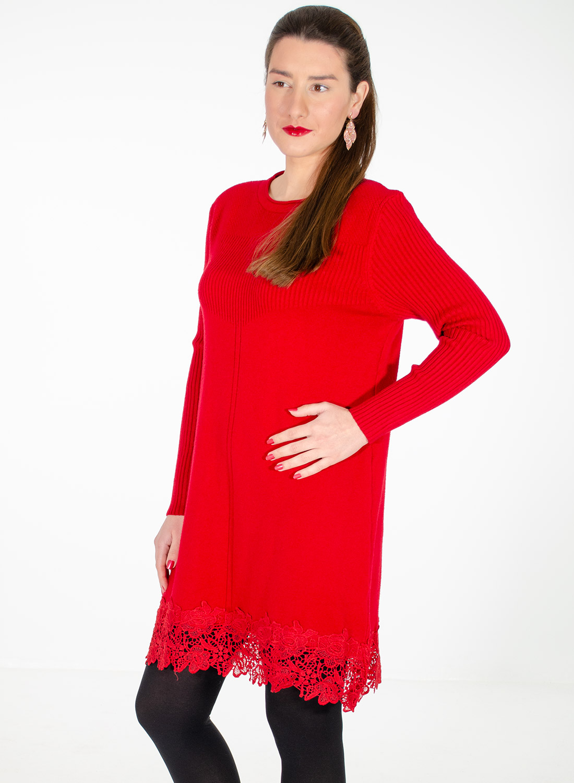 Κόκκινο εντυπωσιακό πλεκτό μπλουζοφόρεμα με δαντέλα