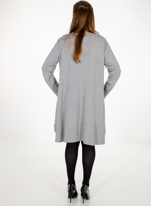 Γκρι πλεκτό φόρεμα με δαντέλα