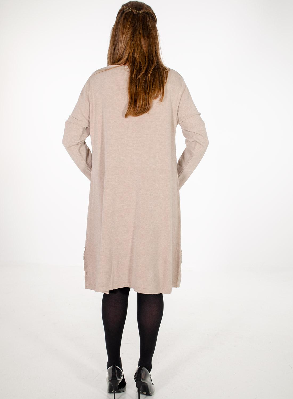 Μπεζ πλεκτό φόρεμα με δαντέλα
