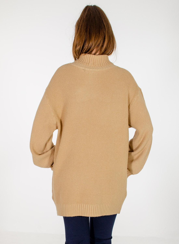 Μπεζ άνετη πλεκτή μπλούζα με ζιβάγκο