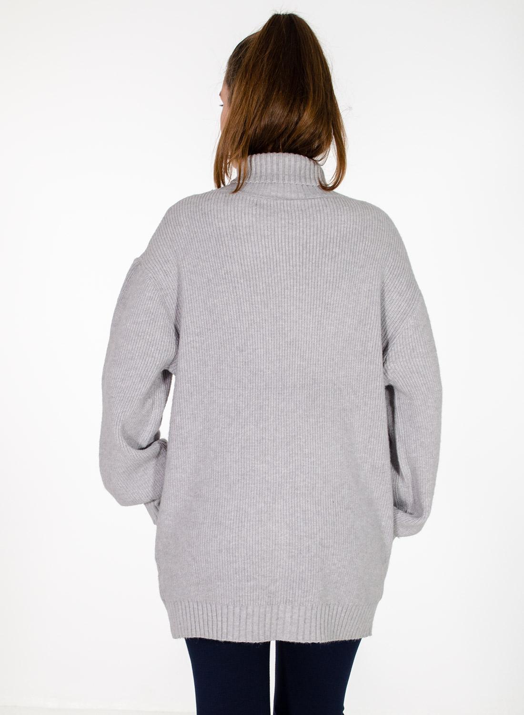 Γκρι άνετη πλεκτή μπλούζα με ζιβάγκο
