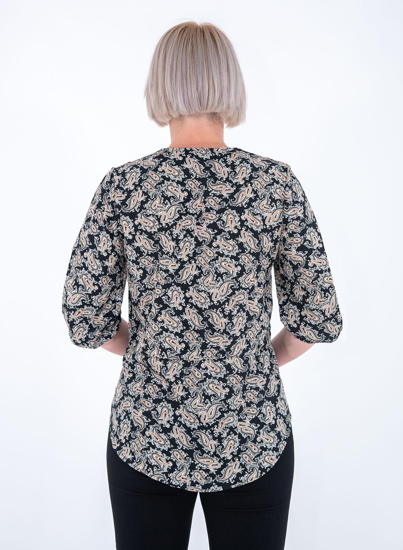 Μαύρη ασύμμετρη μπλούζα με λαχούρια