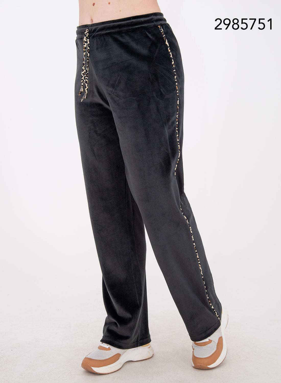 Βελουτέ παντελόνι φόρμας με λεοπάρ λεπτομέρειες