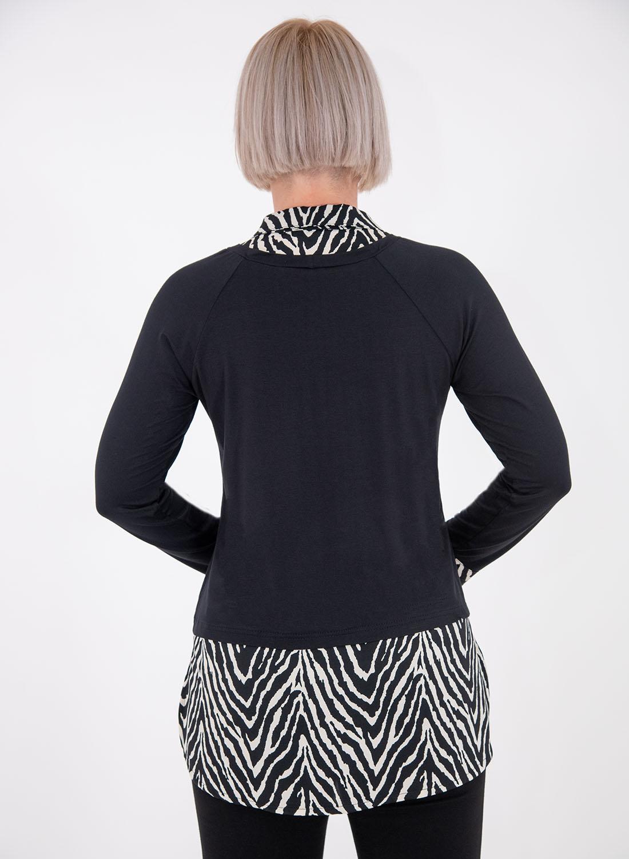 Μαύρη μπλούζα με ζεβρέ σχέδιο