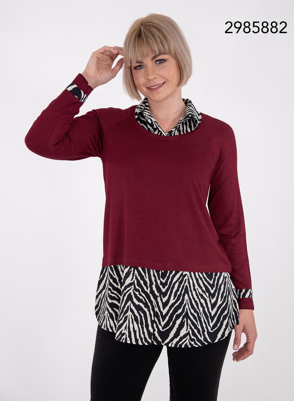 Μπορντό μπλούζα με ζεβρέ σχέδιο