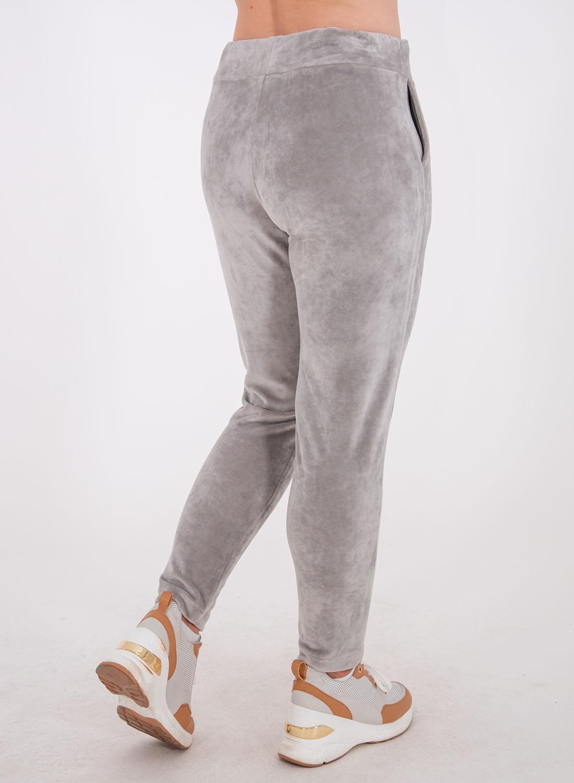 Γκρι βελουτέ παντελόνι φόρμας